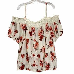 Torrid Floral Cold Shoulder Crochet Trim Top sz 2